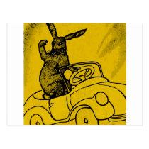 rabbit with a car postcard
