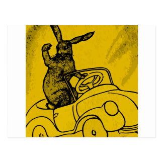 rabbit with a car postcard