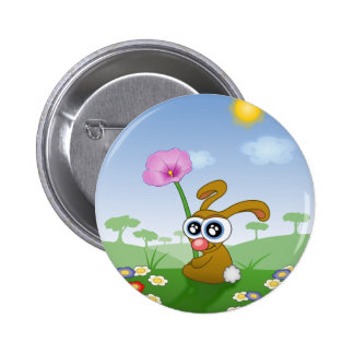 Rabbit with Big Eyes sitting on Field Pinback Button