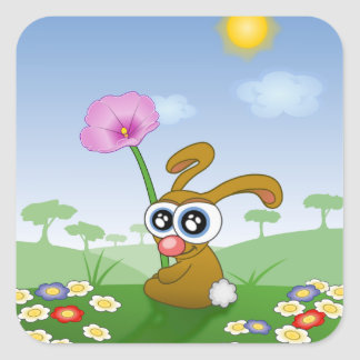 Rabbit with Big Eyes sitting on Field Square Sticker