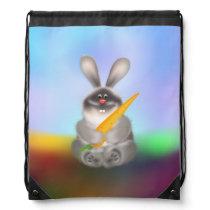 Rabbit with Carrot Drawstring Bag