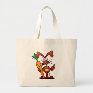 Rabbit with carrot large tote bag