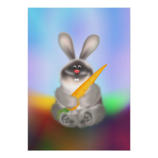Rabbit with Carrot Poster
