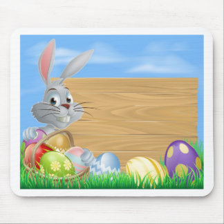Rabbit with eggs basket and Easter sign Mousemats