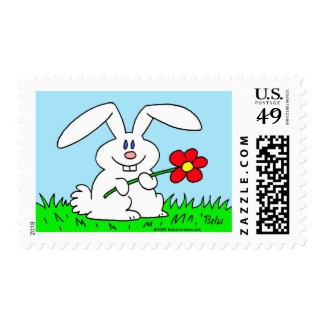 rabbit with flower postage