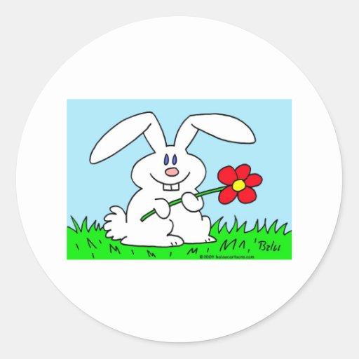 rabbit with flower sticker