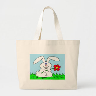 rabbit with flower tote bag