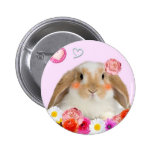 rabbit with flowers pinback button