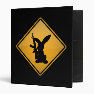 Rabbit with Gun Warning Sign 3 Ring Binder