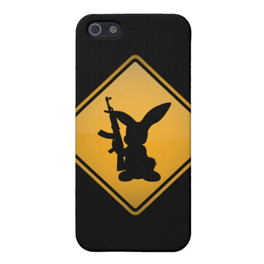 Rabbit with Gun Warning Sign Case For iPhone SE/5/5s
