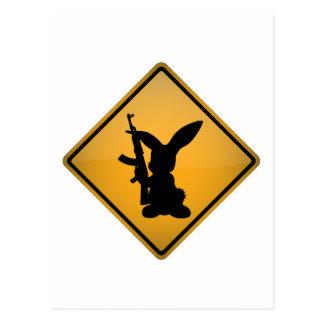 Rabbit with Gun Warning Sign Postcard