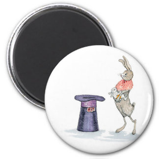 rabbit with hat magnet