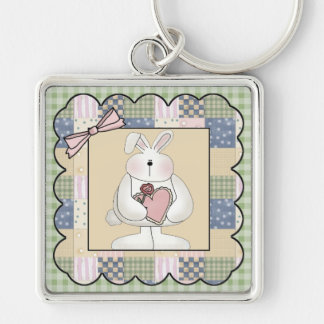 Rabbit With Heart Keychain