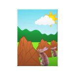 Rabbit With Landscape Rock On Grass Canvas Prints