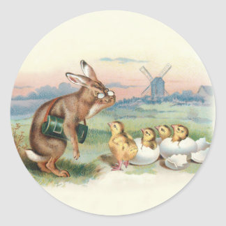 Rabbit with Newly Hatched Chicks - Vintage Art Classic Round Sticker