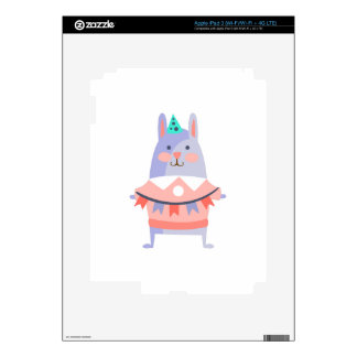 Rabbit With Party Attributes Girly Stylized Funky Skin For iPad 3