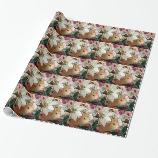 Rabbit With Pointsettias Christmas Wrapping Paper