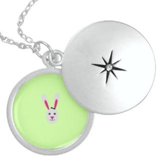 Rabbit with ribbon round locket necklace