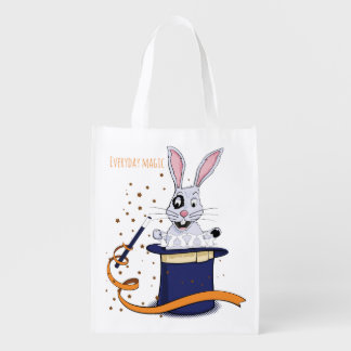 Rabbit with top-hat and magic wand grocery bag