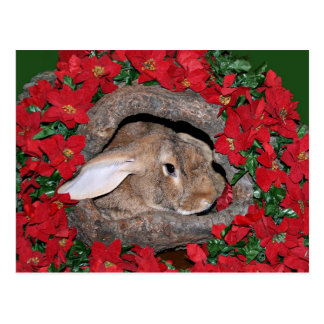 Rabbit yule log postcard