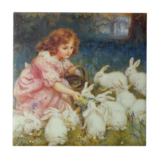 Rabbites de alimentación del chica azulejo cuadrado pequeño