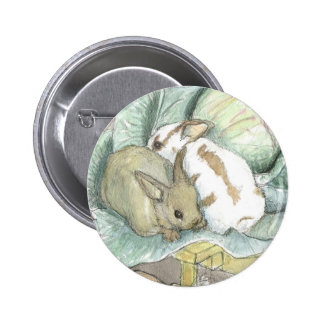 Rabbits and cabbage pinback button