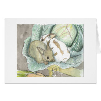 Rabbits and cabbage card