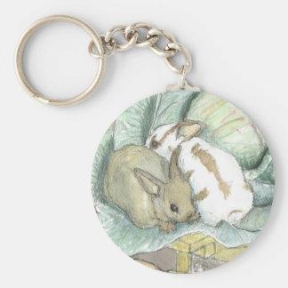 Rabbits and cabbage keychains