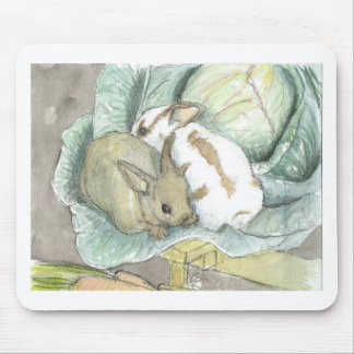 Rabbits and cabbage mouse pad