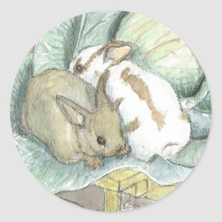 Rabbits and cabbage round stickers