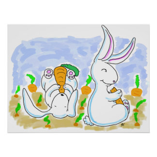 Rabbits and Carrots Poster