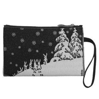 Rabbits and Christmas Tree Winter Illustration Wristlet