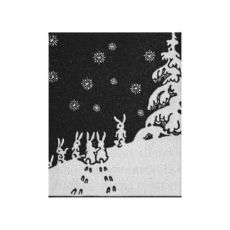 Rabbits and Christmas Tree Winter Illustration Canvas Print