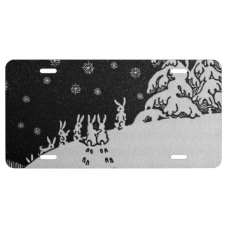 Rabbits and Christmas Tree Winter Illustration License Plate