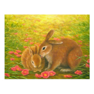 """Rabbits and Fallen Camellias"" poatcard Postcard"