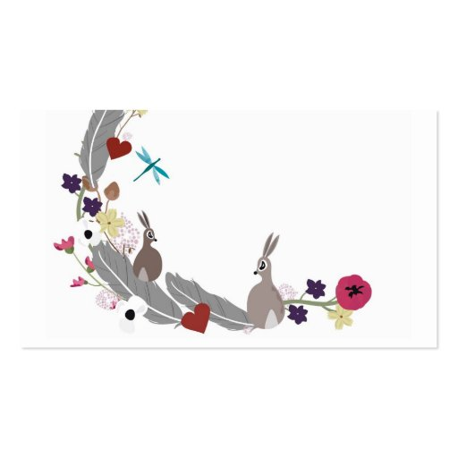 Rabbits and flowers Business Card