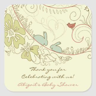 Rabbits and Flowers Neutral Thank You Baby Shower Square Sticker