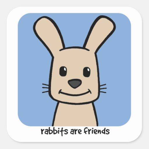Rabbits Are Friends Square Sticker