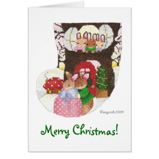 Rabbits at home for Christmas! Stationery Note Card