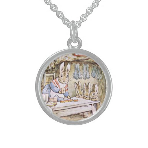 Rabbits ate home round pendant necklace