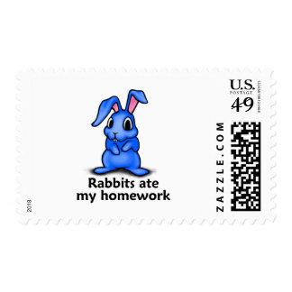 Rabbits ate my Homework Postage Stamp