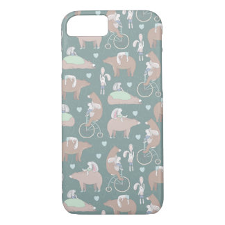 Rabbits, Bears, and Bicycles Pattern iPhone 8/7 Case