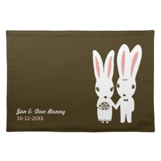 Rabbits Bride and Groom - Wedding Couple with Text Placemat