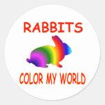 Rabbits Color My World Classic Round Sticker