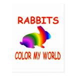 Rabbits Color My World Postcard