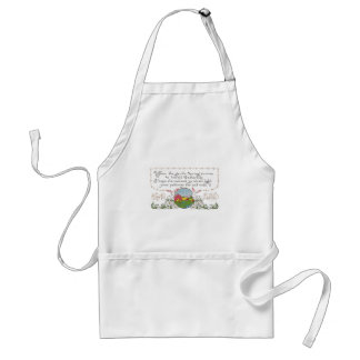 Rabbits, Colorful Spring Scene and Easter Couplet Adult Apron