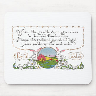 Rabbits, Colorful Spring Scene and Easter Couplet Mouse Pad