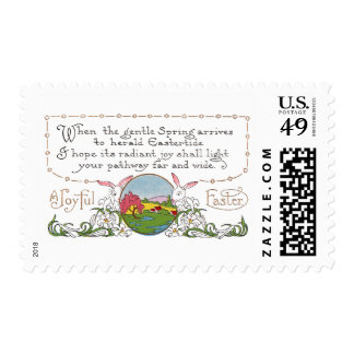Rabbits, Colorful Spring Scene and Easter Couplet Postage Stamp