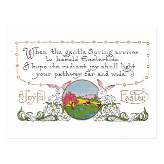 Rabbits, Colorful Spring Scene and Easter Couplet Postcard