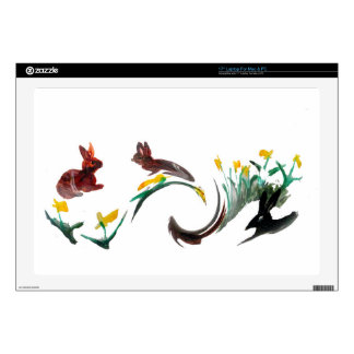 Rabbits daffodils abstract art decal for laptop